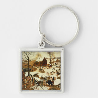 Census at Bethlehem, c.1566 Silver-Colored Square Keychain