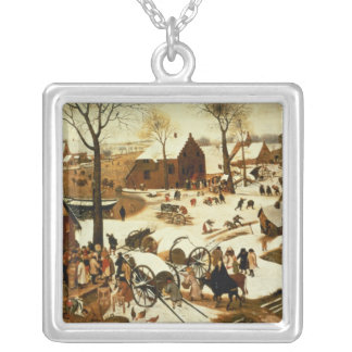 Census at Bethlehem, c.1566 Silver Plated Necklace