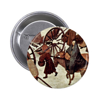 Census At Bethlehem, Detail By Bruegel D. Ä. Piete 2 Inch Round Button