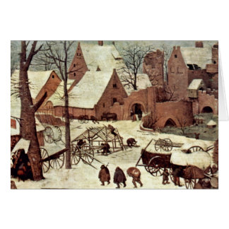 Census At Bethlehem, Detail By Bruegel D. Ä. Piete Greeting Card