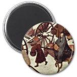 Census At Bethlehem, Detail By Bruegel D. Ä. Piete Refrigerator Magnet