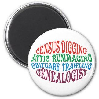 Census Digging Genealogist 2 Inch Round Magnet