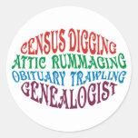 Census Digging Genealogist Classic Round Sticker