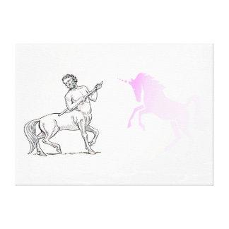Centaur and Vanishing Unicorn Stretched Canvas Pri Canvas Prints