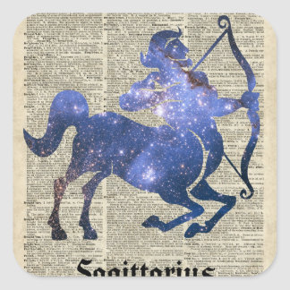 Centaur Archer Space Collage Over Old Book Page Square Sticker