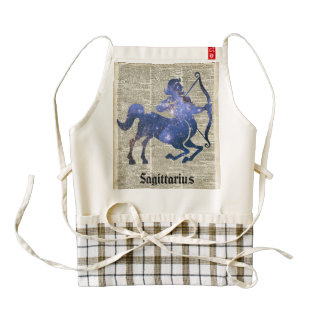 Centaur Archer Space Collage Over Old Book Page Zazzle HEART Apron