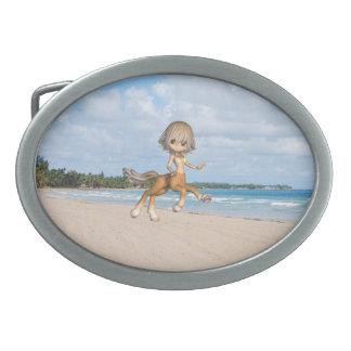 Centaur en la playa hebilla cinturón oval