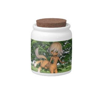 Centaur que juega el tarro del caramelo plato para caramelo