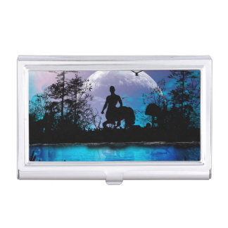 Centaur silhouette business card holder