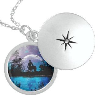 Centaur silhouette round locket necklace
