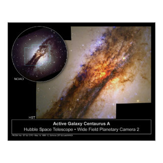 Centaurus un telescopio de Hubble de la galaxia Poster