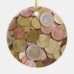 Centavos euro adorno navideño redondo de cerámica