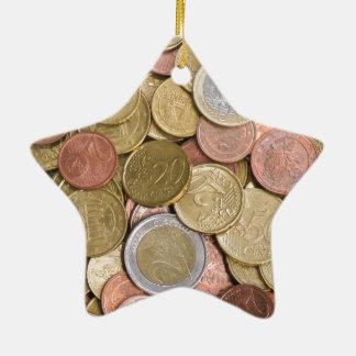 Centavos euro adorno de cerámica en forma de estrella