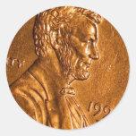 Centavos Lincoln de cobre del penique Pegatina Redonda