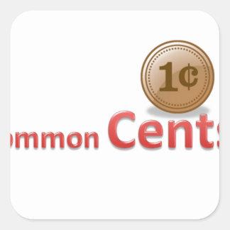 centavos pegatina cuadrada