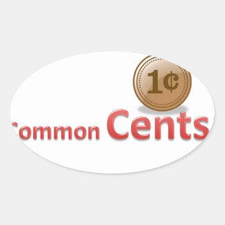 centavos pegatina ovalada