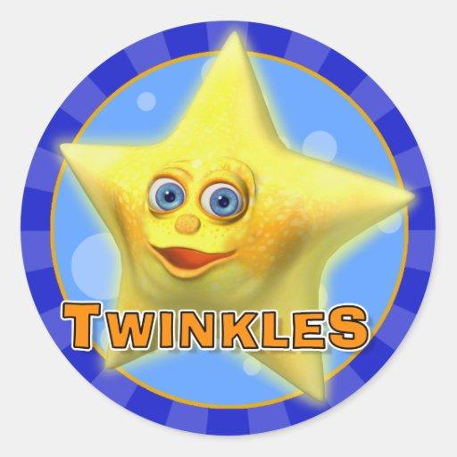 Centellean los pocos pegatinas de la estrella etiquetas redondas