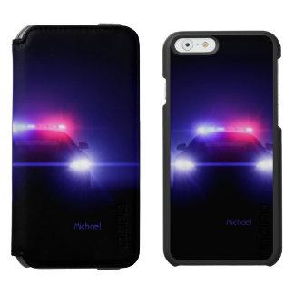 Centelleo completo de las luces del coche policía funda billetera para iPhone 6 watson