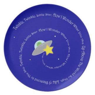 centelleo del centelleo poca placa de la estrella plato para fiesta