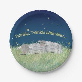 Centelleo del centelleo pocas ovejas el dormir de plato de papel de 7 pulgadas