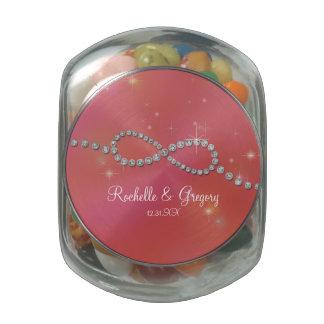 Centelleo infinito del amor de la muestra del jarras de cristal jelly bely