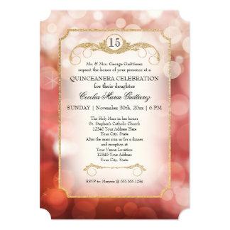 Centelleo moderno Quinceanera del rosa de la Invitacion Personalizada