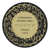 Centenarian 100th Birthday Black and Gold Theme Classic Round Sticker