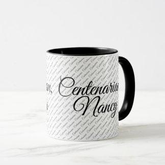 Centenarian Text Pattern - Your name - Black/White Mug
