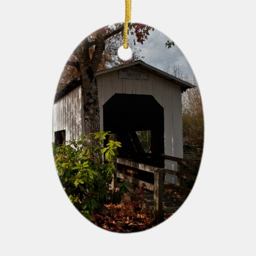 Centennial Covered Bridge, Cottage Grove, Oregon Double-Sided Oval Ceramic Christmas Ornament