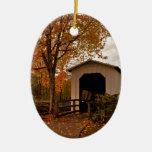 Centennial Covered Bridge, Oregon Double-Sided Oval Ceramic Christmas Ornament