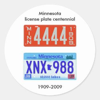 Centennial de la placa de Minnesota Pegatinas Redondas