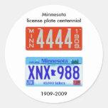 Centennial de la placa de Minnesota Pegatina Redonda