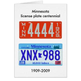 Centennial de la placa de Minnesota Tarjeta