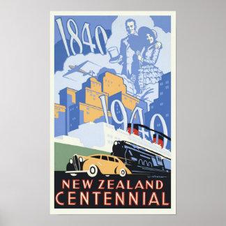 Centennial de Nueva Zelanda del vintage Póster