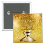 Centennial Trophy with Fireworks 2 Inch Square Button