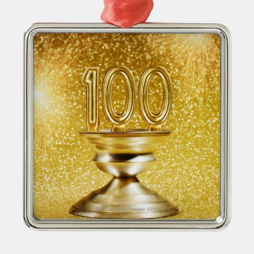 Centennial Trophy with Fireworks Square Metal Christmas Ornament