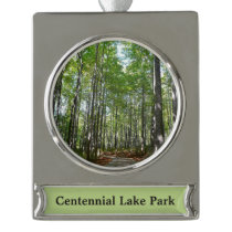 Centennial Wooded Path II Silver Plated Banner Ornament