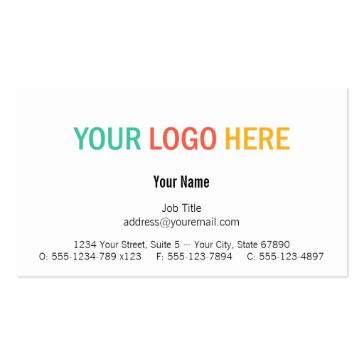 Center custom logo modern custom professional business card