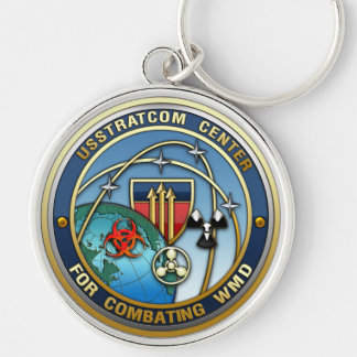 Center for Combating Weapons of Mass Destruction Silver-Colored Round Keychain