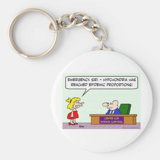 center for disease control hypochondria epidemic basic round button keychain
