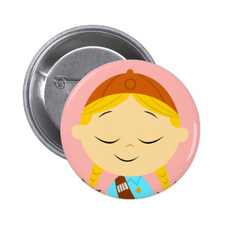center girl _ girl scout blonde 2 inch round button