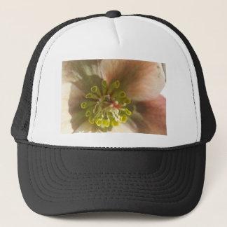 center of an english rose trucker hat