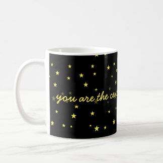center of my universe, yellow stars on black coffee mug