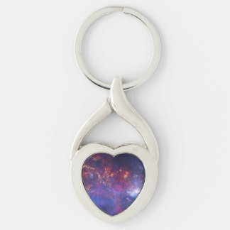 Center of the Milky Way Galaxy IV Silver-Colored Heart-Shaped Metal Keychain