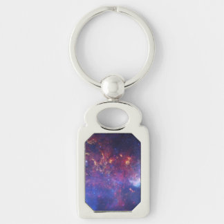Center of the Milky Way Galaxy IV Silver-Colored Rectangular Metal Keychain