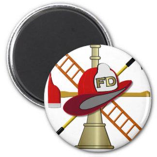 Center Scramble Fire Department Design 2 Inch Round Magnet