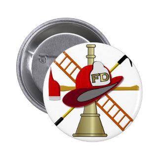 Center Scramble Fire Department Design Pinback Button