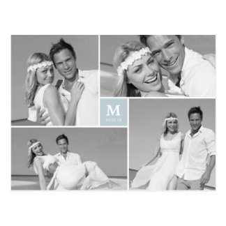 Center Square Monogram Wedding Photo Thank You Postcard