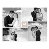 Center Square Monogram Wedding Photo Thank You Postcard