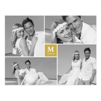 Center Square Monogram Wedding Thank You Photo Postcard